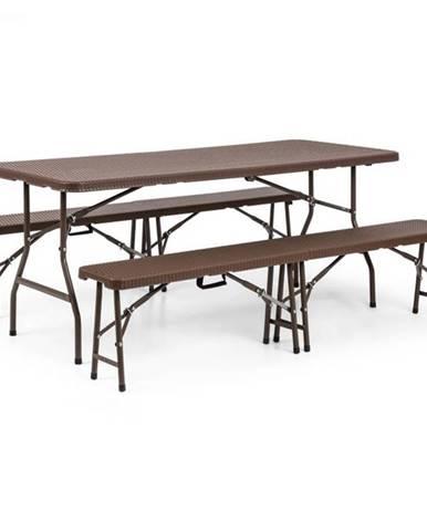 Blumfeldt Burgos, zostava záhradného nábytku, trojdielna, stôl + dve lavice, oceľ, HDPE, skladacia, hnedá