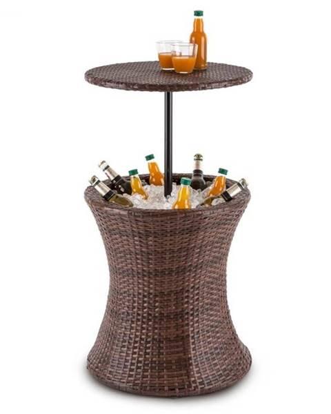 Blumfeldt Blumfeldt Beerboy, záhradný stôl, chladič nápojov, Ø 50 cm, polyratan, dvojfarebný hnedý