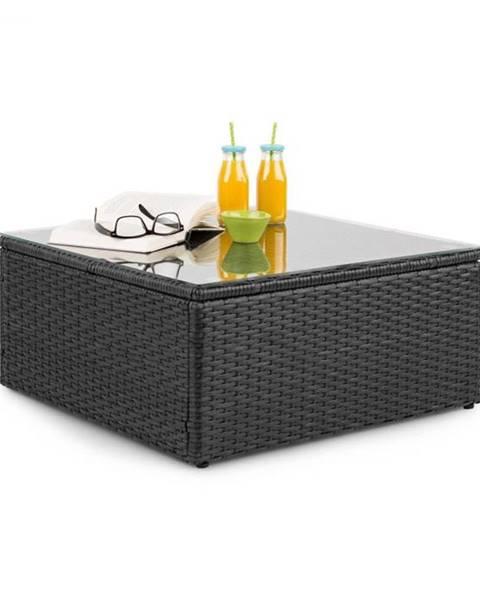 Blumfeldt Blumfeldt Theia, odkladací stolík, polyratan, sklenená doska, čierny