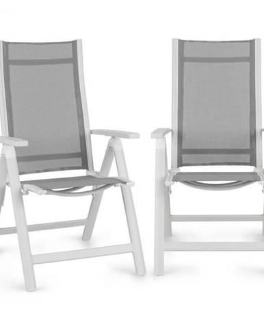Blumfeldt Cádiz, skladacia stolička, sada 2 kusov, 59,5 x 107 x 68 cm, ComfortMesh, hliník, biela