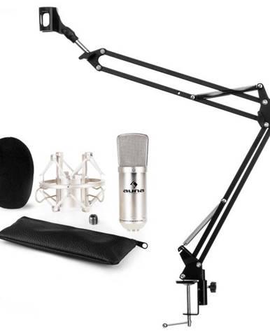 Auna CM001S mikrofónová sada V3, kondenzátorový mikrofón, mikrofónové rameno, strieborná farba