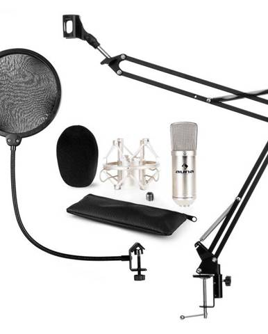 Auna CM001S mikrofónová sada V4, kondenzátorový mikrofón, mikrofónové rameno, pop filter, strieborná farba