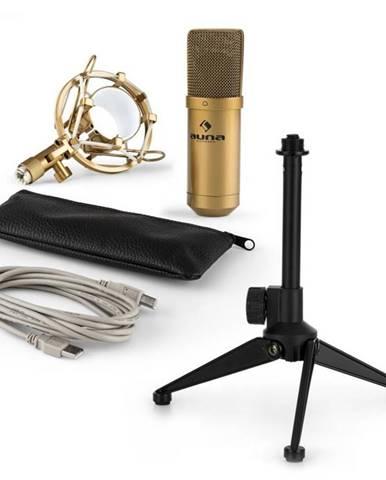 Auna MIC-900G V1, USB mikrofónová sada, zlatý kondenzátorový mikrofón + stolný statív
