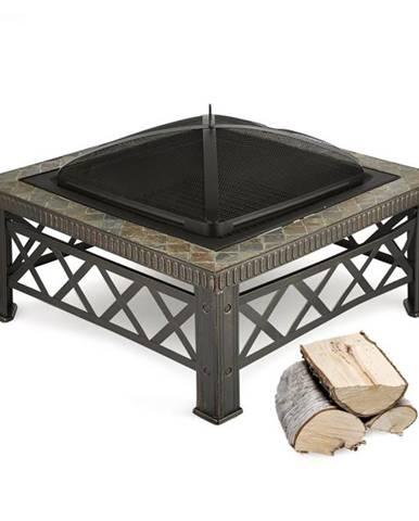 Blumfeldt Merano, ohnisko, 75 x 75 cm, grilovací rošt, dlaždicový dizajn, oceľ, čiernené