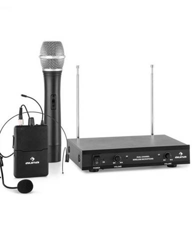 Auna Pro VHF-2-HS, 2-kanálová VHF mikrofónová sada 1 x headset 1 x ručný mikrofón 50m