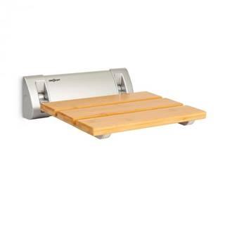 OneConcept Arielle, sedadlo do sprchy, bambus, hliník, sklápacie, 160 kg max., drevo