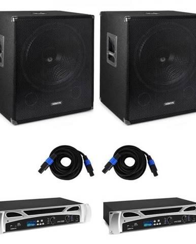 Vonyx Bass Storm DJ PA sada, 2 x PA zosilňovač 500 W, 2 x PA subwoofer 600 W