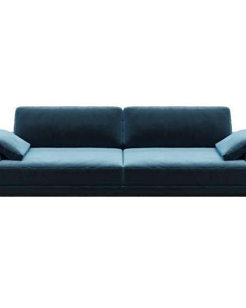 MESONICA Modrá zamatová pohovka MESONICA Musso, 211 cm