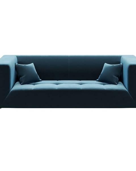 MESONICA Modrá zamatová pohovka MESONICA Toro, 217 cm