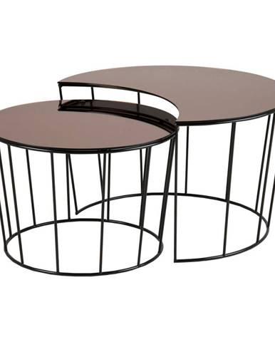 Súprava 2 odkladacích stolíkov v čierno-bronzovej farbe Actona Sunmoon