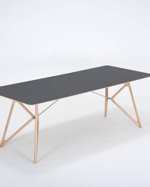 Gazzda Jedálenský stôl z masívneho dubového dreva s čiernou doskou Gazzda Tink, 220×90cm