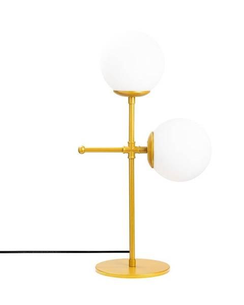 Opviq lights Stolová lampa v zlato-bielej farbe Opviq lights Mudoni