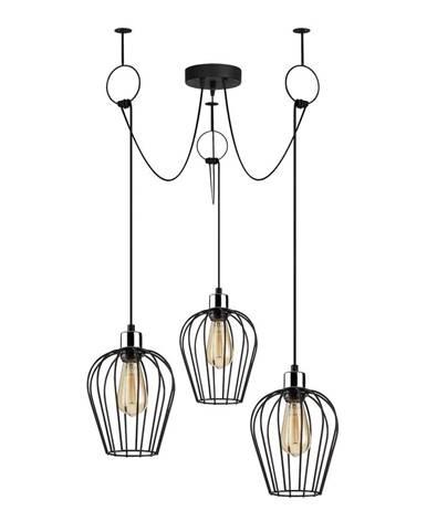Čierne závesné svietidlo pre 3 žiarovky Opviq lights Tel Chain