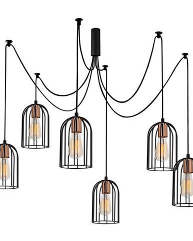 Čierne závesné svietidlo pre 6 žiaroviek Opviq lights Pamukkale