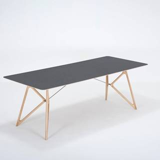 Jedálenský stôl z masívneho dubového dreva s čiernou doskou Gazzda Tink, 220×90cm