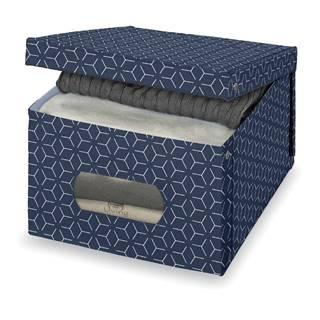 Tmavomodrý úložný box Domopak Metrik Large, 50 x 39 cm