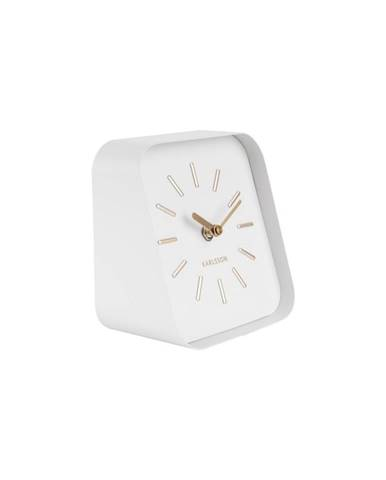 Biele kovové stolové hodiny Karlsson Squared