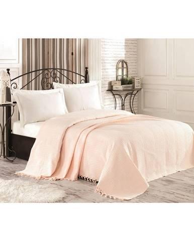 Krémová bavlnená prikrývka cez posteľ na dvojlôžko Tarra, 220×240 cm