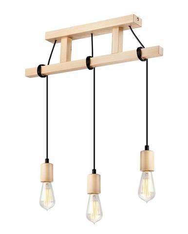 Drevené závesné svietidlo pr 3 žiarovky Lamkur Leon