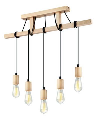 Drevené závesné svietidlo pre 5 žiaroviek Lamkur Leon