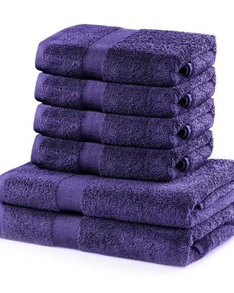 DecoKing Set 2 bavlnených fialových osušiek a 4 uterákov DecoKing Marina