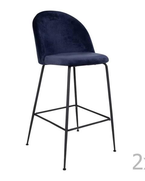 House Nordic Sada 2 modrých barových stoličiek so zamatovým poťahom s nohami čiernej farby HoNordic Lausanne
