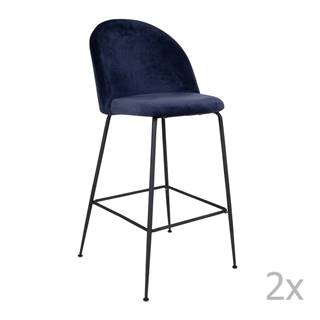 Sada 2 modrých barových stoličiek so zamatovým poťahom s nohami čiernej farby HoNordic Lausanne