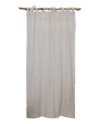 Sivý záves Linen Cuture Cortina Hogar Grey Marine Stripes