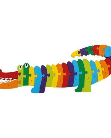 Vzdelávacie drevené puzzle Legler Crocodile ABC