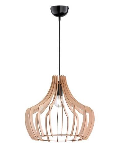 Svetlohnedé závesné svietidlo z dreva a kovu Trio Wood, výška 150 cm