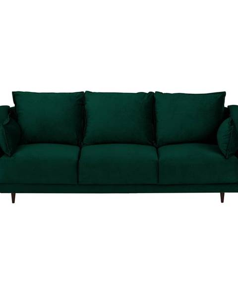 Mazzini Sofas Tmavo zelená zamatová rozkladacia pohovka s úložným priestorom Mazzini Sofas Freesia, 215 cm