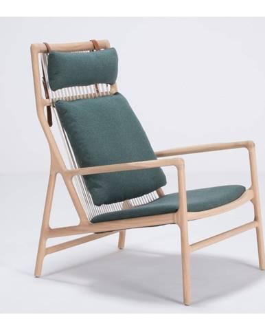 Kreslo s konštrukciou z dubového dreva so zeleným textilným sedadlom Gazzda Dedo