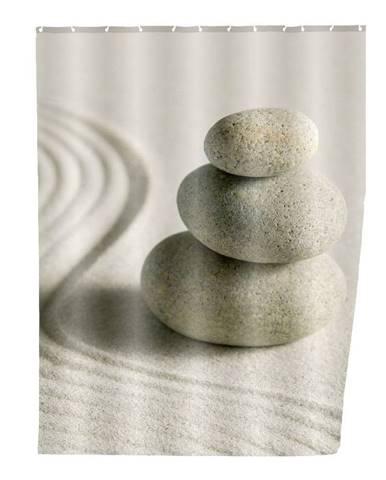 Sivý sprchový záves Wenko Sand, 180×200 cm