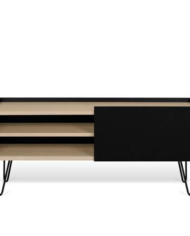 Čierna komoda s policou a dvierkami TemaHome Nina, 140 x 59 cm