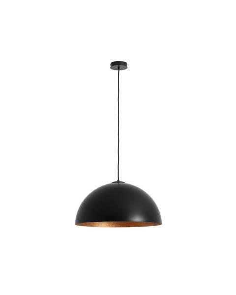 Custom Form Čierne závesné svietidlo s detailom v medenej farbe Custom Form Lord, 50 cm