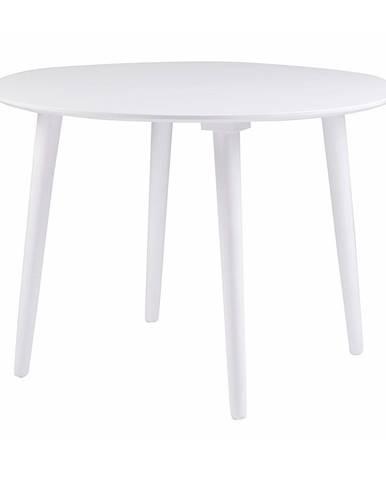 Biely jedálenský stôl z dreva kaučukovníka Rowico Lotte, ⌀ 106 cm