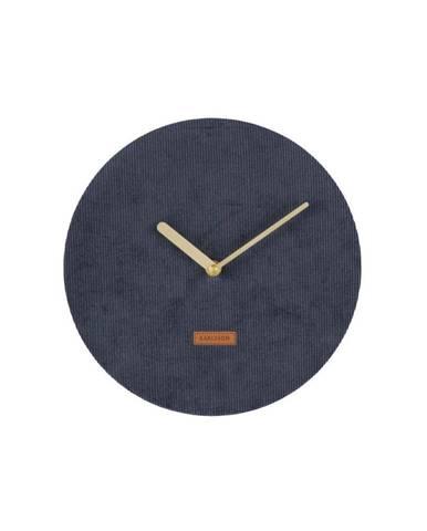 Tmavomodré nástenné hodiny s menčestrom Karlsson Corduroy, ⌀25cm