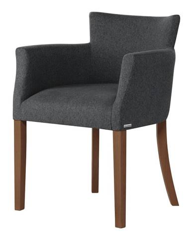 Tmavosivá stolička s tmavohnedými nohami Ted Lapidus Maison Santal