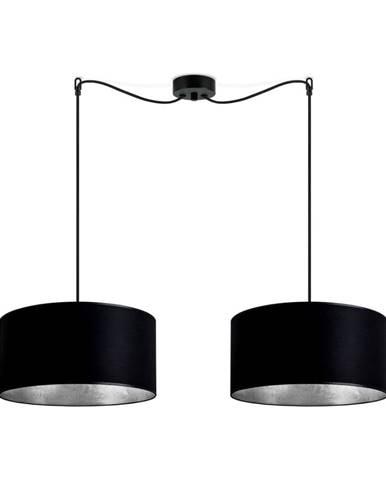 Čierne dvojramenné závesné svietidlo s vnútrom v striebornej farbe Sotto Luce Mika