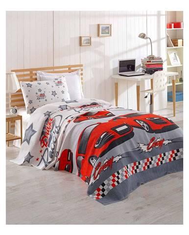 Detská bavlnená prikrývka cez posteľ Eponj Home Cars, 160 x 235 cm