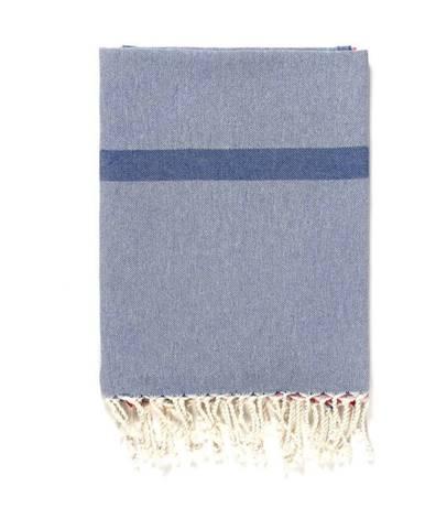 Modro-sivá osuška s prímesou bavlny Kate Louise Cotton Collection Line Blue Grey Pink, 100 × 180 cm