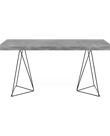 Pracovný stôl v dekore betónu s čiernou podnožou TemaHome Multi, 160 x 90 cm
