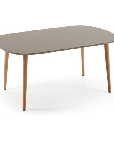 Sivý rozkladací jedálenský stôl La Forma Oakland, 160 x 100 cm