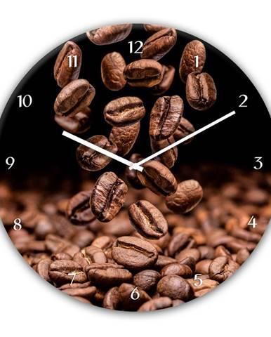 Nástenné hodiny Styler Glassclock Coffee Seeds, ⌀ 30 cm