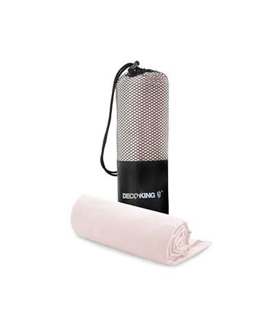 Set ružovej rýchloschnúcej osušky a uteráku DecoKing EKEA, 70 × 140 cm + 30 × 50 cm