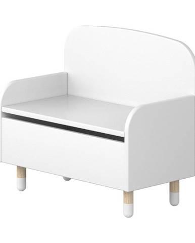 Biela úložná lavica s opierkou Flexa Dots