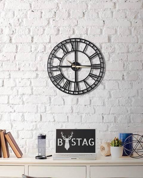 Bystag Čierne nástenné hodiny Greece, 50×50 cm