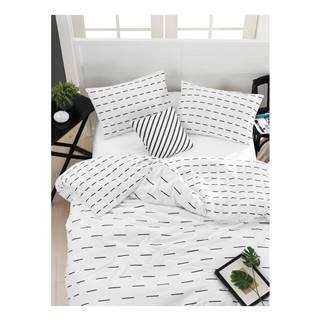 Obliečky s plachtou na dvojlôžko z ranforce bavlny Mijolnir Cubuk White, 200 × 220 cm