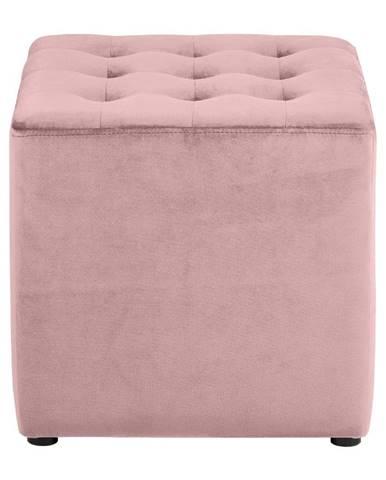 Ružová zamatová taburetka Actona Bryan