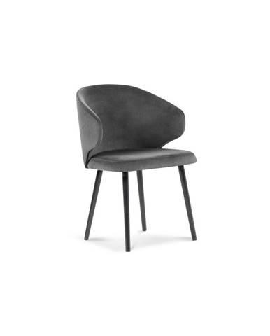 Tmavosivá jedálenská stolička so zamatovým poťahom Windsor & Co Sofas Nemesis